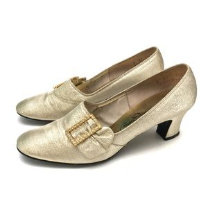 Vintage 1960s Diamanté Buckle Rocco Loafer Heels